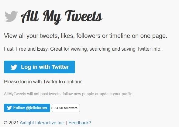 Melihat Tweet Lama Menggunakan AllMyTweets